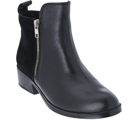 """As Is"" Cougar Leather & Suede Waterproof Ankle Boots - Connect"
