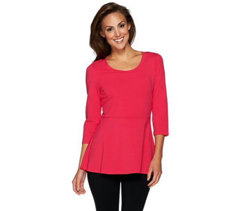 """As Is"" Isaac Mizrahi Live! 3/4 Sleeve Peplum Knit Tunic - A278018"