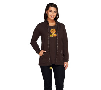 """As Is"" Quacker Factory Charmed I'm Sure Jacket and T-Shirt Set - A278118"