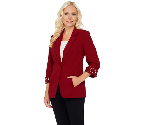 """As Is"" Susan Graver Artisan Chelsea Stretch 3/4 Sleeve Blazer"