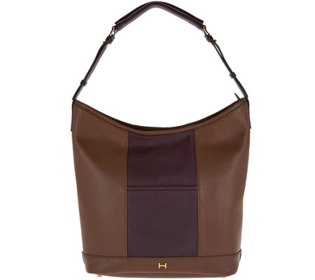 H by Halston Pebble Leather Color-Block Hobo Handbag
