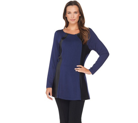 Belle by Kim Gravel Curvallusion Tunic with Faux Leather Trim