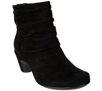 Earthies Suede Ruched Ankle Booties - Vicenza - A284118