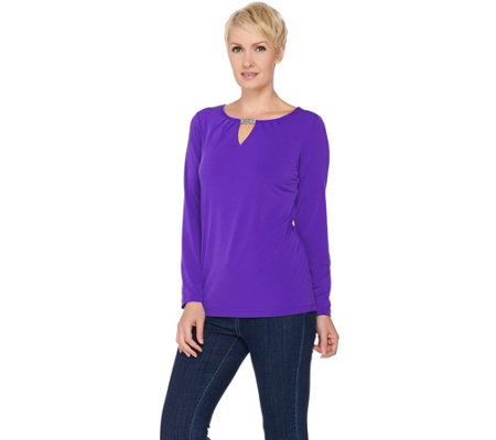 Susan Graver Liquid Knit Long Sleeve Top with Keyhole Trim