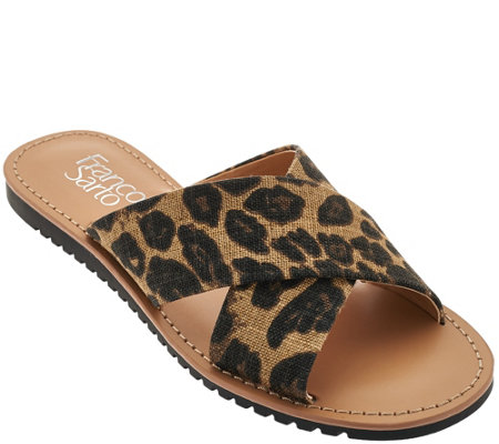 """As Is"" Franco Sarto Printed Cross Strap Slide Sandals - Quentin"