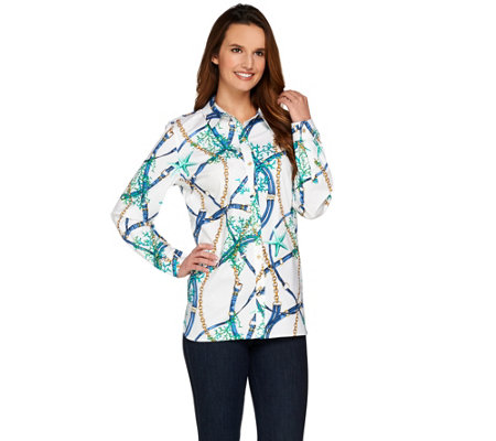 """As Is"" Susan Graver Printed Stretch Cotton Long Sleeve Button Front"