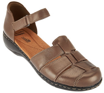 """As Is"" Clarks Leather Fisherman Sandals - Leisa Wave - A287418"