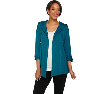 """As Is"" Susan Graver Weekend Cotton Modal Open Front Hooded Cardigan"