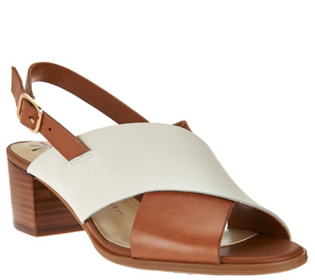"""As Is"" Isaac Mizrahi Live! Leather Cross Band Sandals w/ Block Heel"