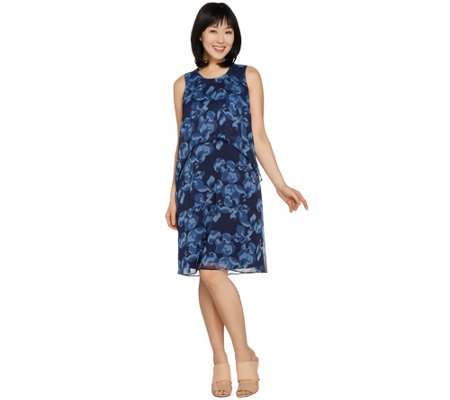 H by Halston Petite Sleeveless Floral Printed Chiffon Dress