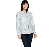 Isaac Mizrahi Live! Pearlized Lamb Leather Zip Front Jacket - A288818