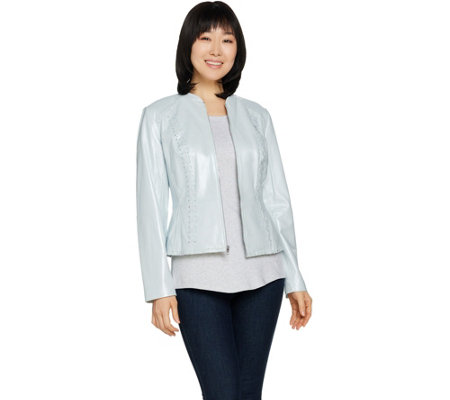 Isaac Mizrahi Live! Pearlized Lamb Leather Zip Front Jacket