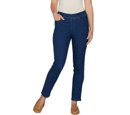"""As Is"" Denim & Co. Soft Stretch 2 Pocket Slim Leg Ankle Jeans"