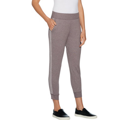 LOGO Lounge by Lori Goldstein French Terry Pants with Crochet Detail
