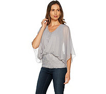 Laurie Felt Knit Lace Top with Chiffon Overlay - A292618