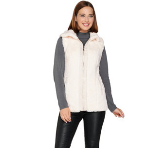 """As Is"" Dennis Basso Zip Front Faux Fur Bomber Vest - A293118"