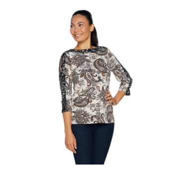 Susan Graver Printed Liquid Knit Split Sleeve Top