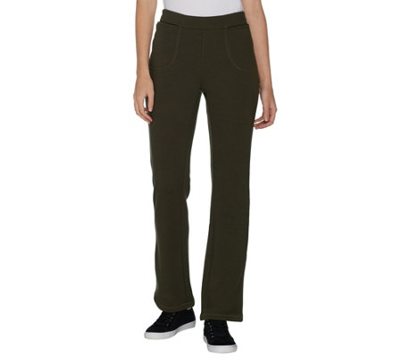 Denim & Co. Active Lush Lined Pull-On Lightly Bootcut Pants