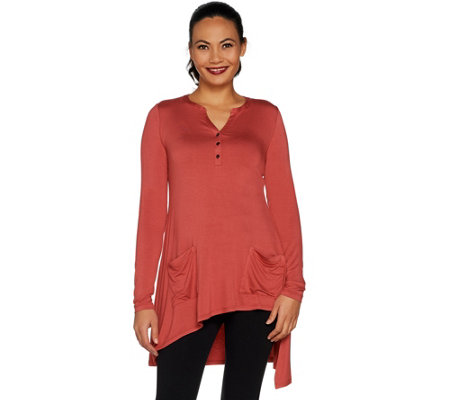 LOGO by Lori Goldstein Long Sleeve Henley Top w/ Asymmetric Hem