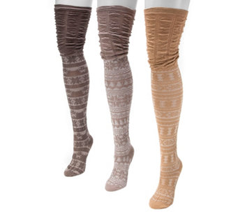MUK LUKS Women's 3-Pair Pack Microfiber Over the Knee Socks - A355918