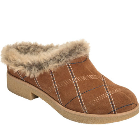 Aerosoles Suede Faux Fur Clogs - Blue Moon
