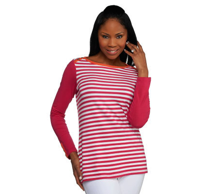 Susan Graver Weekend Striped Stretch Cotton Top with Button Detail