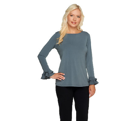 Susan Graver Liquid Knit Bateau Neck Long Sleeve Top with Ruffles