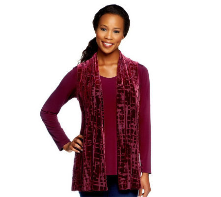 Susan Graver Liquid Knit Long Sleeve Top with Burnout Velvet Vest