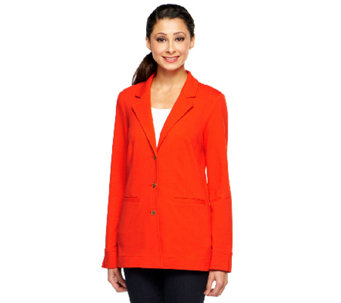 Liz Claiborne New York Solid Knit Blazer with Pockets - A240519