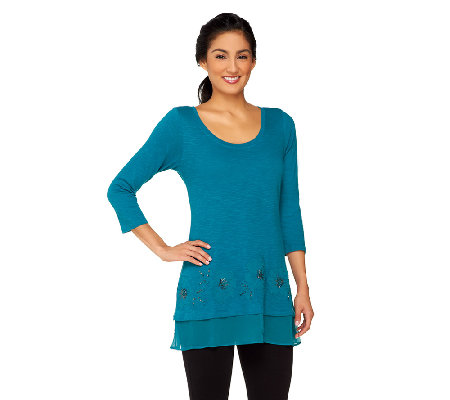 LOGO by Lori Goldstein Cotton Slub Embellished Top with Trim