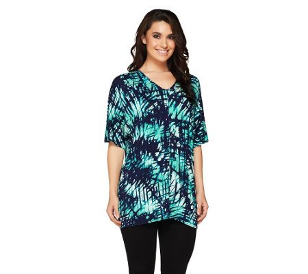 Lisa Rinna Collection Double V-Neck Dolman Tunic