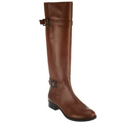 """As Is"" Isaac Mizrahi Live! Gored Leather Riding Boots w/ Buckle Detail"