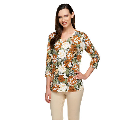 Denim & Co. Perfect Jersey Floral Print V-neck 3/4 Sleeve Top