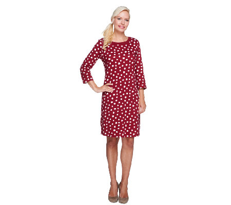 Liz Claiborne New York Polka-Dot 3/4 Sleeve Knit Dress