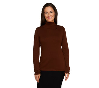 Joan Rivers Wardrobe Builders Knit Turtleneck with Side Buttons - A258019
