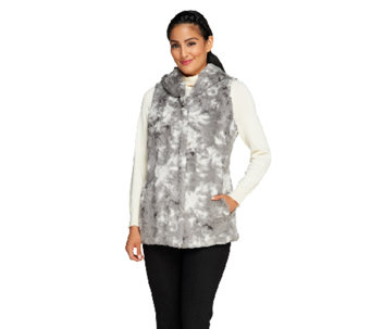 Dennis Basso Printed and Sculpted Faux Fur Vest with Hood - A258119