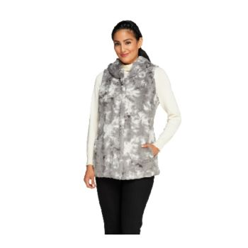 Dennis Basso Printed and Sculpted Faux Fur Vest with Hood