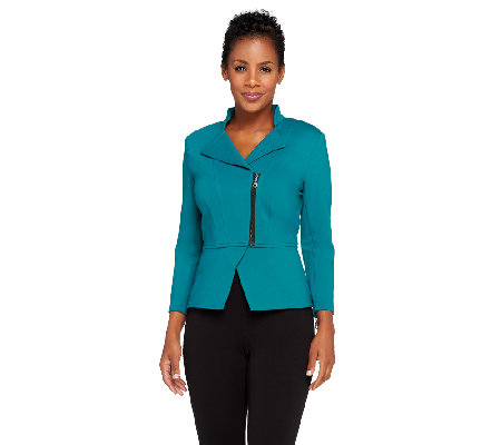 SA By Seth Aaron Ponte Knit Jacket w/Side Zipper Detail