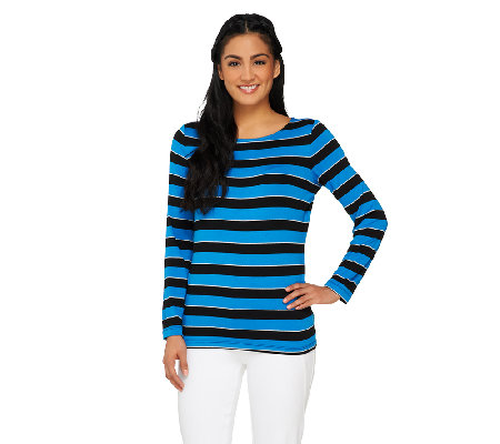 Susan Graver Striped Lurex Knit Bateau Neck Long Sleeve Top