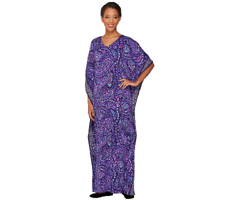 Joan Rivers Regular Length Paisley Jersey Knit Caftan