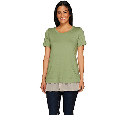 LOGO by Lori Goldstein Split Back Top with Chiffon Underlay