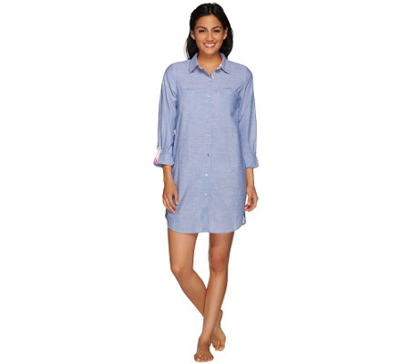 Jane & Bleecker Button Down Long Sleeve Sleep Shirt