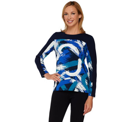 Susan Graver Weekend Printed Cotton Modal Long Sleeve Top