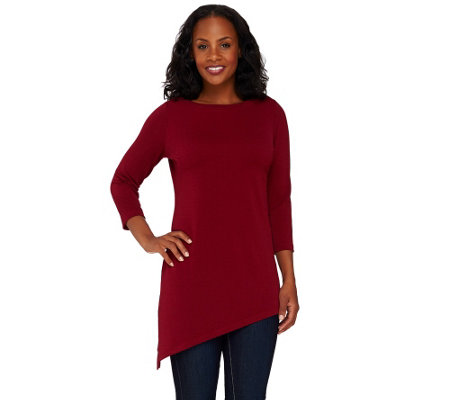 Susan Graver Passport Knit Tunic with Asymmetrical Hem