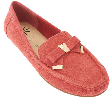 """As Is"" Isaac Mizrahi Live! Suede Moccasins w/ Tipped Bow"