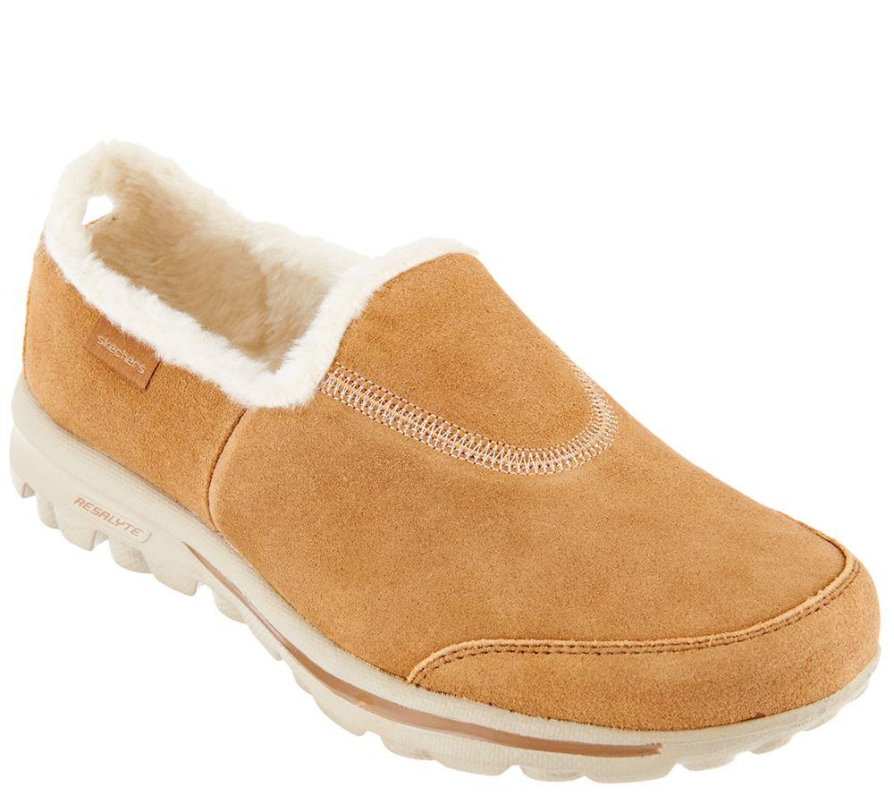 Skechers GOwalk Suede Faux Fur Shoes w/ Memory Form Fit - Comfy ...