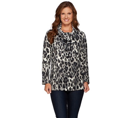Susan Graver Weekend Printed Polar Fleece Long Sleeve Pullover Top