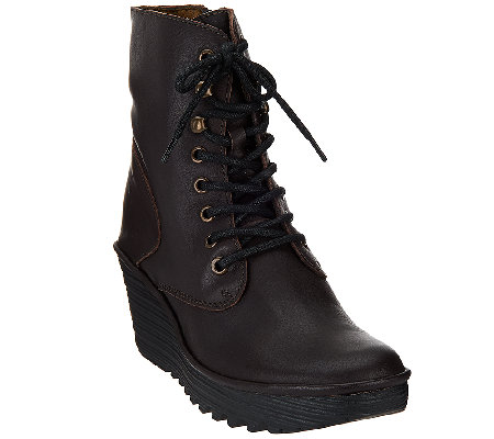 FLY London Leather Lace-up Ankle Boots - Ygot