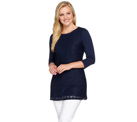 Denim & Co. 3/4 Sleeve Tunic with Front Lace Detail