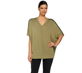 Lisa Rinna Collection V-Neck Poncho with Faux Leather Trim - A273519